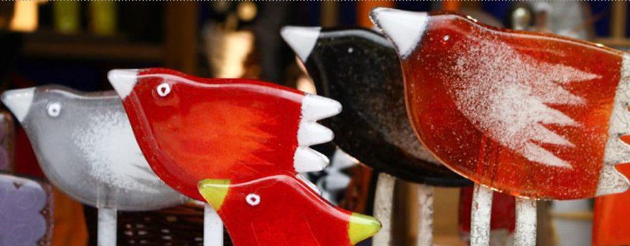 Vogelgruppe Tiffanyglas